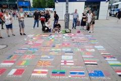 artista di strada ad Alexanderplatz