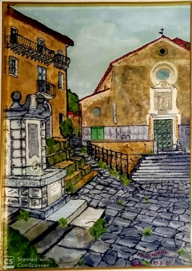 La piazza di Policastro, dipinto di Patrizio Cevaro