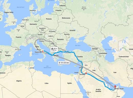 Abu Dhabi, seimila chilometri da Napoli